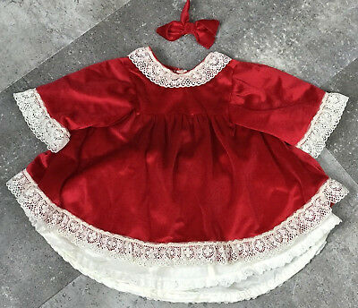 Vintage Hand Made Red Velvet Baby Dress with Lace, Under Skirt and Bow 12 Months