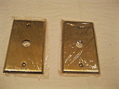Push Button Metal Single Switch Wall Plates - Antique Brass Lot of 2