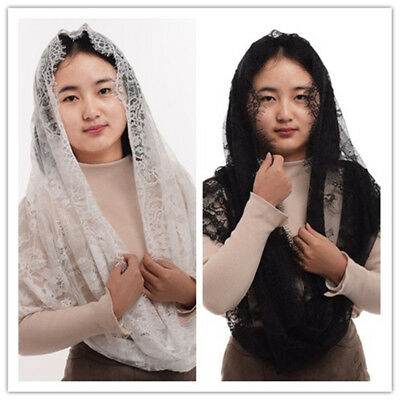 1pc Women Latin Mass Mantilla Head Covering Lace Infinity Catholic Chapel Veil