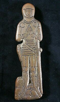 Embossed Brass Door Knocker Medieval Knight or Crusader 7.75 x2.25 Inches FINE