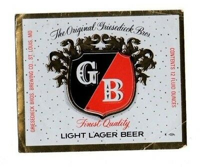 USA - Beer Label - Griesedieck Bros Brewing Co, St. Louis, MO - Light Lager Beer