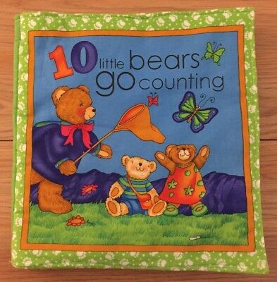 """10 LITTLE BEARS GO COUNTING plush soft baby book 9"""" x 10"""""""