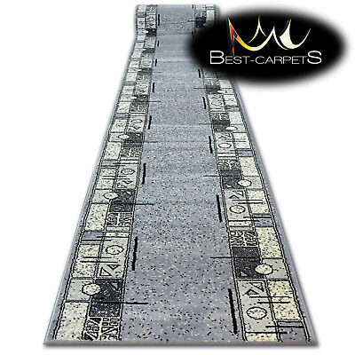 Modern Hall Carpet Runner BCF BASE grey FRAME Stairs 60-150cm extra long RUGS
