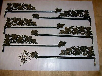Antique 6 Swing Arm Curtain Rods Cast Iron Ivy Design Plus 12 Brass Rings