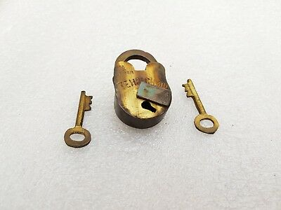1950's Vintage Tehri Chabi 4 Lever Unused Brass Padlock With 2 Original Keys