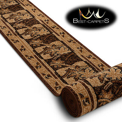 Modern Hall Carpet Runner BCF BASE beige FLORAL Stairs 60-150cm extra long RUGS