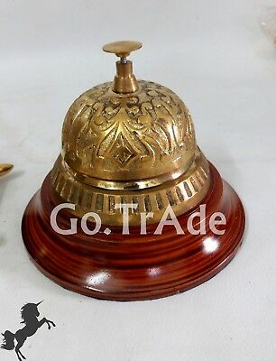 Ornate Solid Brass Hotel Office Counter Bell Desk Call Service Bell Gift Item