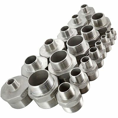 Male Hex Nipple Stainless Steel 304 Threaded Reducer Pipe Fitting Silver