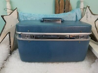 Vintage Samsonite Horizon Train Case Suitcase Luggage Cosmetic Blue w/Key/Tray!