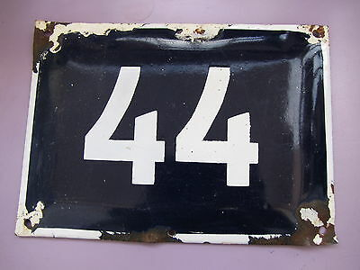 BIG vintage ISRAELI enamel porcelain number 44 house sign # 44