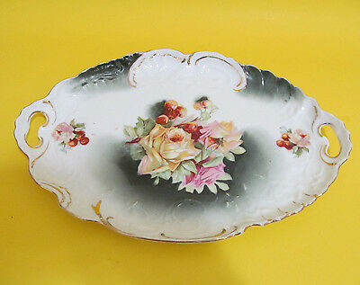 "Vintage Plate Oval Yellow Roses and Cherries Platter Gold Details 12"" Bavaria"
