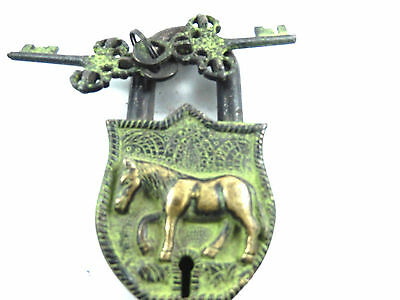 Horse Shape Handcrafted Vintage Antique Style Brass Padlock with unique keys