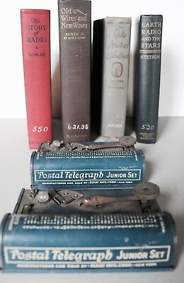 Pair Vintage TRI-SIGNAL Postal Telegraph Sets by ELKAY Mfg. w/ Lot of Handbooks