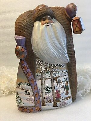 "G Debrekht Russian 11 1/2"" Santa Figurine With Lantern & Winter Scenes"