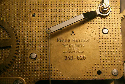 Franz Hermle Two Jewels 340-020  Clock Movement For Parts