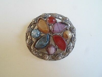 Vintage Celtic Type Brooch With Coloured Stones Embossed Hollywood To Rear