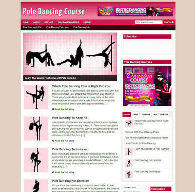 Pole Dancing Course Affiliate Website And Store + New Domain Name And Hosting