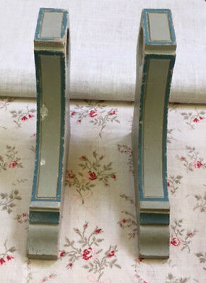 Pair of Old French Painted Wooden Curtain Pole Holders Empire Style
