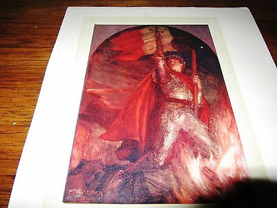 Antique Print of Frank Dicksee 1914 Resurgam Knight Sword Colour