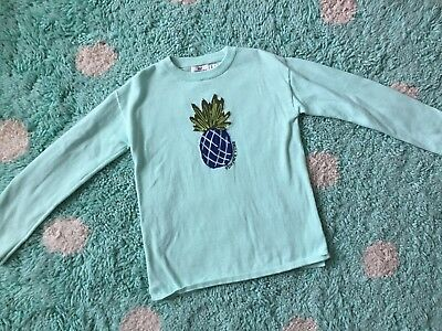 Vineyard Vines Girls Sweater Knit Aqua Size 7-8 Pineapple Long Sleeve Cotton S