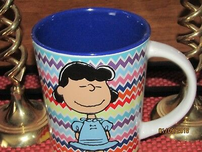 Peanuts Gang 'Lucy' ~ Coffee/ Tea/ Hot Chocolate Mug ~ Herringbone Pattern ~ NEW