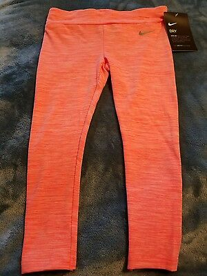Girls Size 4 Nike Leggings Pants dri-fit bright mango Nwt retail $30