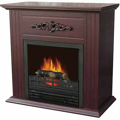"""Decor-Flame Electric Space Heater Fireplace with 28"""""""" Mantle, Chestnut"""