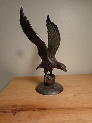 "vintage 9"" American Eagle on world, brass statue with original patina"
