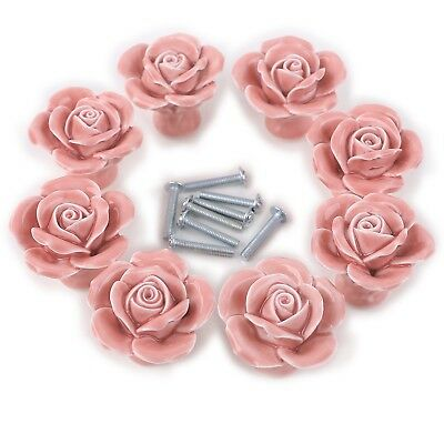 8PCS White/Pink Ceramic Vintage Floral Rose Door Knobs Handle Drawer Kitchen ...