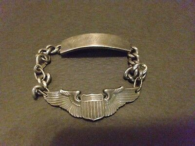Original WWII US Army Air Corps Pilots NAMED Sterling Bracelet .77 Troy Ounce
