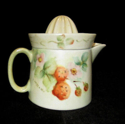 Antique Lemon Lime Juicer Squeezer Reamer Hand Painted Flowers & Berries Signed