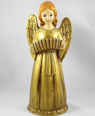 "Vintage Tall Angel with Accordian Figurine by Star Japan Hand Painted 10.5"" Tall"