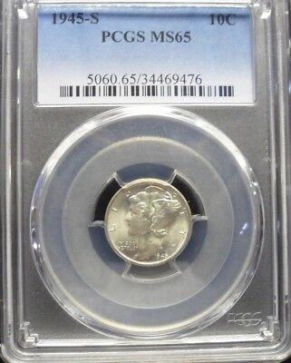 1945-S  Mercury Dime PCGS MS65