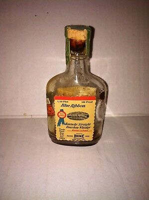 Vintage Blue Ribbon Kentucky Bourbon Whiskey Miniature Bottle Dated 1935 INTACT