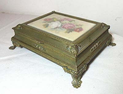 antique 1800's Austrian ornate ormolu bronze needlepoint dresser jewelry box
