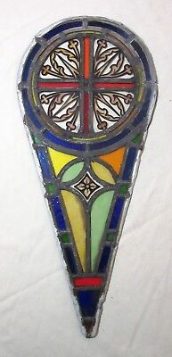antique 1800's handmade stained leaded glass teardrop church window panel #6