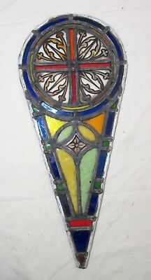 antique 1800's handmade stained leaded glass teardrop church window panel #4