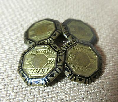 antique 19th century enamel gold plate bronze ornate mens french shirt cufflinks