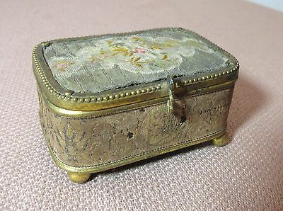 antique 19th century Victorian gilt bronze brass needlepoint ring jewelry box
