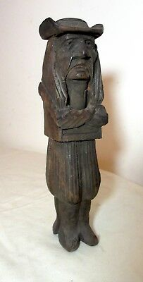 antique hand carved wood French J Martin figural man nutcracker sculpture