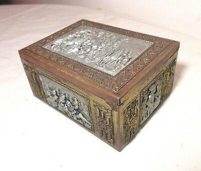 antique ornate German figural gilt bronze wood lined cigarette humidor box brass