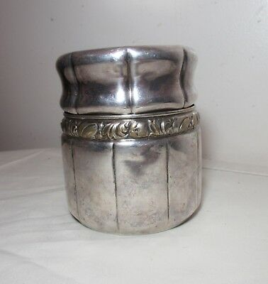 antique silverplate brass lidded tobacco humidor tea caddy jar box container