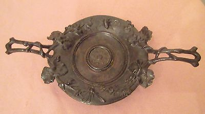 antique ornate heavy bronzed cast iron nature bug tray footed dish compote bowl