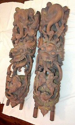 HUGE pair of antique hand carved figural temple Chinese wood corbel sculptures
