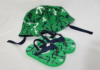 Carters Boys Size 12-14 Months Green Navy White Bucket Hat w/ Matching Sandals
