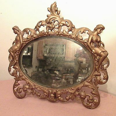 large antique ornate Rococo figural nude lady cast iron ornate wall table mirror