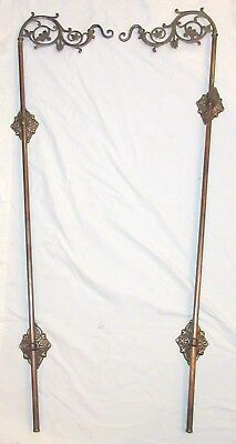LARGE pair of antique ornate gilt brass wall mount hanging planter hanger hooks