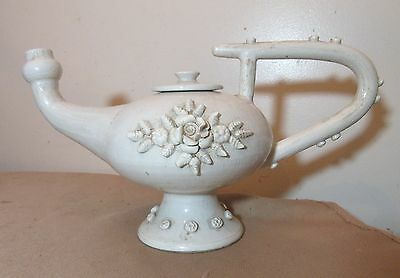 Large rare antique handmade Italian pottery teapot shaped water pitcher jug