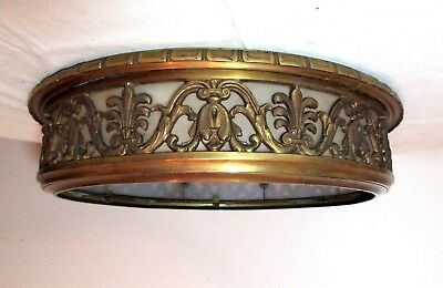 LARGE antique ornate gilt bronze frosted slag glass ceiling fixture chandelier