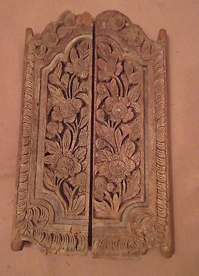 pair early antique 19th C. hand carved wood iron flower door sculpture carving